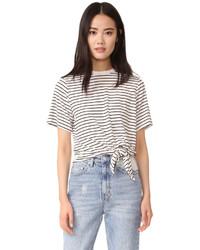 Camiseta con cuello circular de rayas horizontales en blanco y negro de The Fifth Label