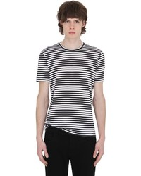 Camiseta con cuello circular de rayas horizontales en blanco y negro de The Kooples