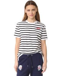 Camiseta con cuello circular de rayas horizontales en blanco y negro de Zoe Karssen