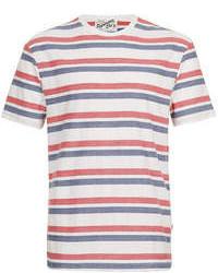 Camiseta con cuello circular de rayas horizontales en blanco y rojo y azul marino