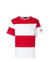 Camiseta con cuello circular de rayas horizontales en blanco y rojo de Calvin Klein 205W39nyc