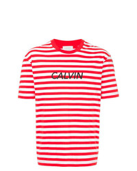 Camiseta con cuello circular de rayas horizontales en blanco y rojo de CK Calvin Klein