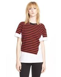 Camiseta con cuello circular de rayas horizontales en blanco y rojo de Marc by Marc Jacobs