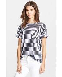 Camiseta con cuello circular de rayas horizontales en negro y blanco de Frame Denim