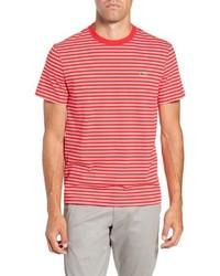 Camiseta con cuello circular de rayas horizontales en rojo y blanco