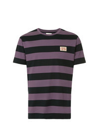 Camiseta con cuello circular de rayas horizontales en violeta