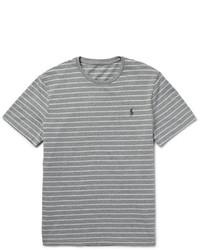 Camiseta con cuello circular de rayas horizontales gris de Polo Ralph Lauren