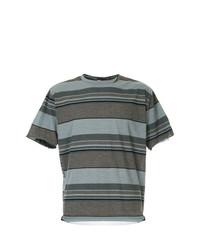 Camiseta con cuello circular de rayas horizontales marrón de Kolor