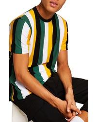 Camiseta con cuello circular de rayas verticales en multicolor