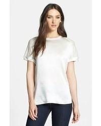Camiseta con cuello circular de seda blanca
