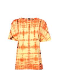 Camiseta con cuello circular efecto teñido anudado amarilla de Proenza Schouler