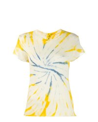 Camiseta con cuello circular efecto teñido anudado amarilla de The Elder Statesman