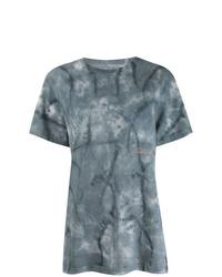 Camiseta con cuello circular efecto teñido anudado azul de Eckhaus Latta