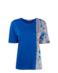 Camiseta con cuello circular efecto teñido anudado azul de Suzusan