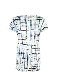 Camiseta con cuello circular efecto teñido anudado en azul marino y blanco de Proenza Schouler