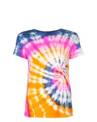 Camiseta con cuello circular efecto teñido anudado en multicolor de The Elder Statesman