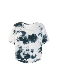 Camiseta con cuello circular efecto teñido anudado en negro y blanco de Suzusan