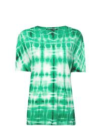 Camiseta con cuello circular efecto teñido anudado en verde menta de Proenza Schouler