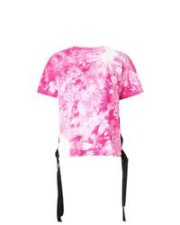 Camiseta con cuello circular efecto teñido anudado rosada de Sacai