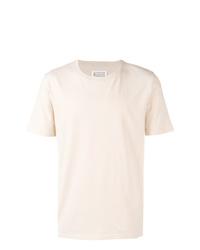 Camiseta con cuello circular en beige de Maison Margiela