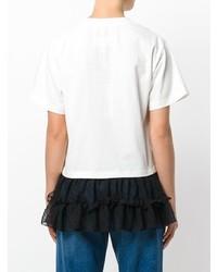 Camiseta con cuello circular en blanco y negro de MM6 MAISON MARGIELA