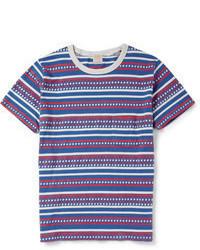 Camiseta con cuello circular en blanco y rojo y azul marino