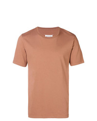 Camiseta con cuello circular en tabaco de Maison Margiela