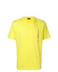 Camiseta con cuello circular estampada amarilla de Diesel