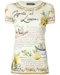 Camiseta con cuello circular estampada amarilla de Dolce & Gabbana