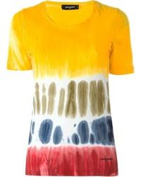 Camiseta con cuello circular estampada amarilla de Dsquared2