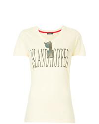 Camiseta con cuello circular estampada amarilla de Loveless
