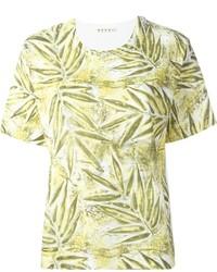 Camiseta con cuello circular estampada amarilla de Marni
