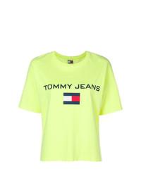 Camiseta con cuello circular estampada amarilla de Tommy Jeans