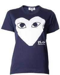 Camiseta con cuello circular estampada azul marino
