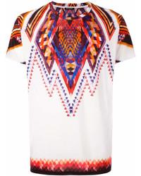 Camiseta con cuello circular estampada blanca de Balmain