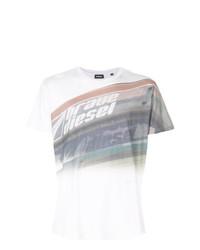Camiseta con cuello circular estampada blanca de Diesel