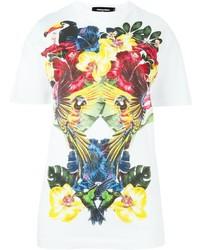 Camiseta con cuello circular estampada blanca de Dsquared2