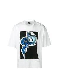 Camiseta con cuello circular estampada blanca de Just Cavalli