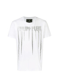 Camiseta con cuello circular estampada blanca de Philipp Plein