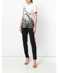 Camiseta con cuello circular estampada blanca de Koché