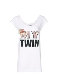 Camiseta con cuello circular estampada blanca de Twin-Set