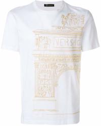 Camiseta con cuello circular estampada blanca de Versace
