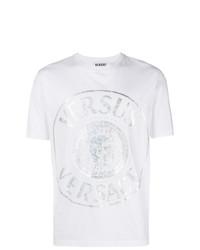 Camiseta con cuello circular estampada blanca de Versus