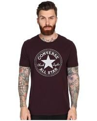 Camiseta con cuello circular estampada burdeos