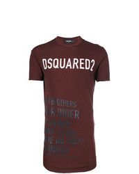 Camiseta con cuello circular estampada burdeos de DSQUARED2