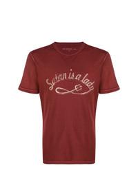 Camiseta con cuello circular estampada burdeos de John Varvatos