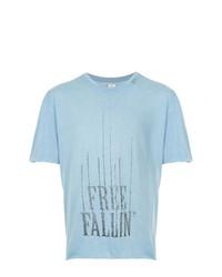 Camiseta con cuello circular estampada celeste de Alchemist