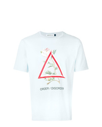 Camiseta con cuello circular estampada celeste de Undercover