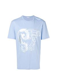Camiseta con cuello circular estampada celeste de Versace Collection