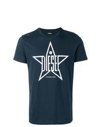 Camiseta con cuello circular estampada en azul marino y blanco de Diesel